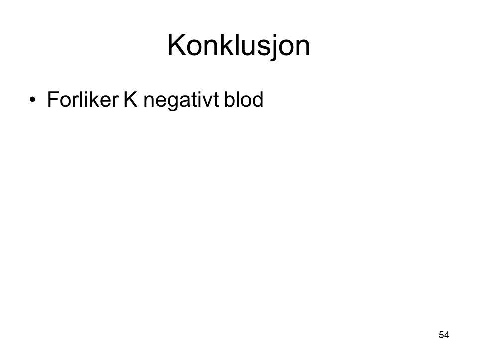 Konklusjon Forliker K negativt blod
