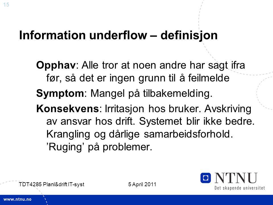 Information underflow – definisjon