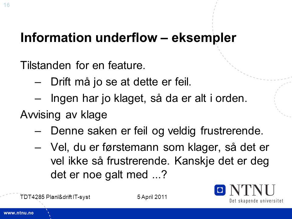 Information underflow – eksempler