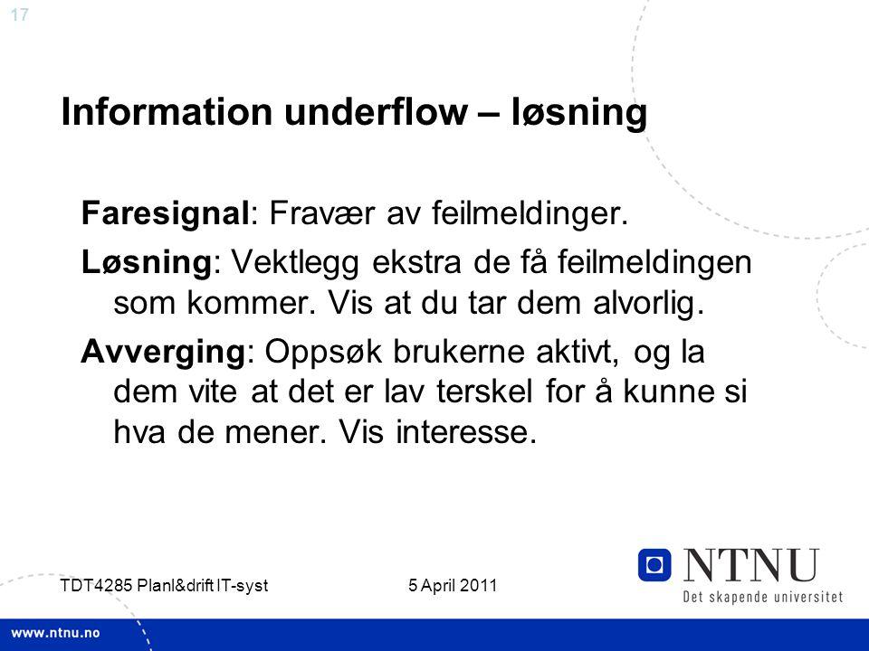Information underflow – løsning