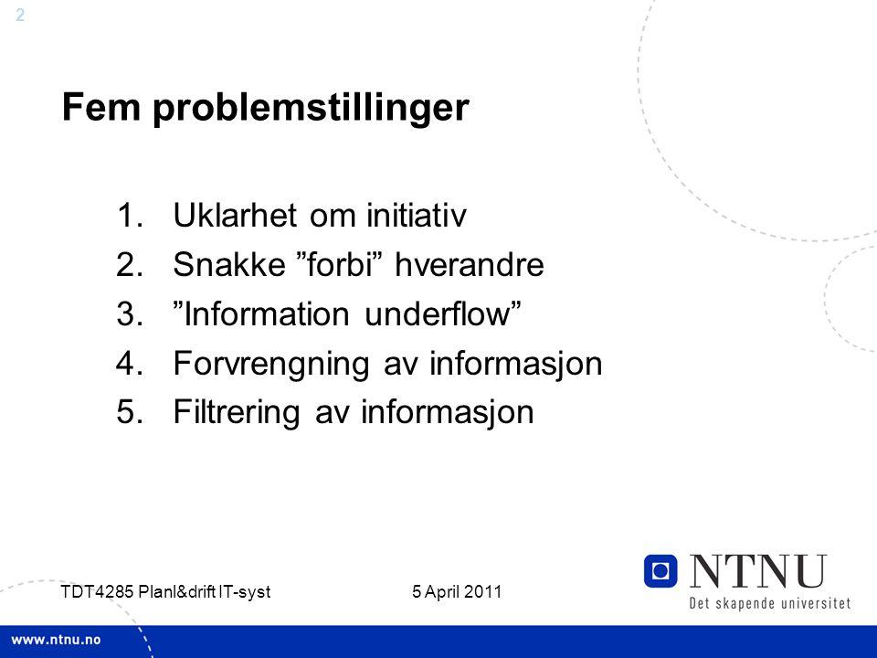 Fem problemstillinger