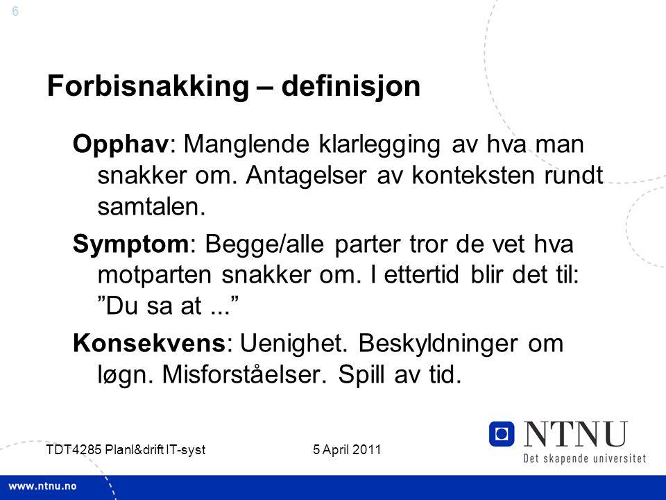 Forbisnakking – definisjon