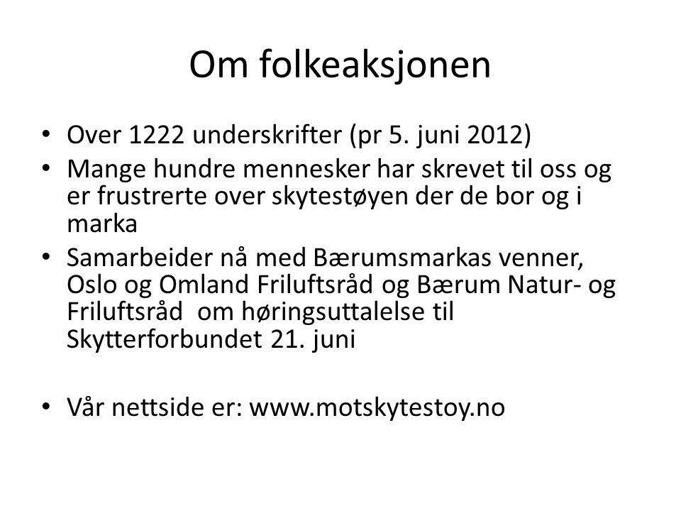 Om folkeaksjonen Over 1222 underskrifter (pr 5. juni 2012)