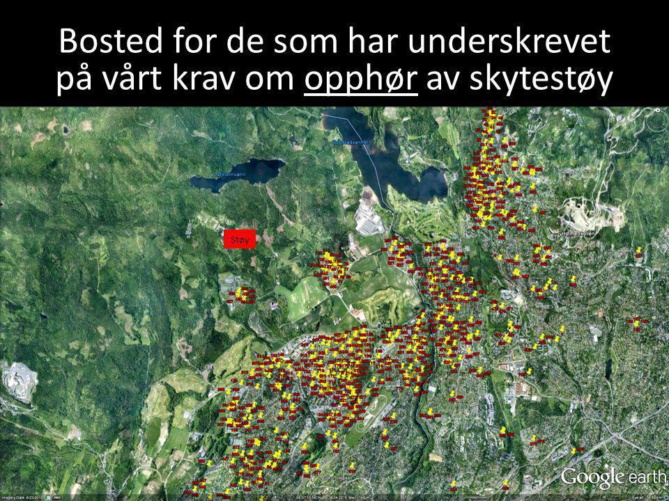 Bosted for de som har underskrevet på vårt krav om opphør av skytestøy