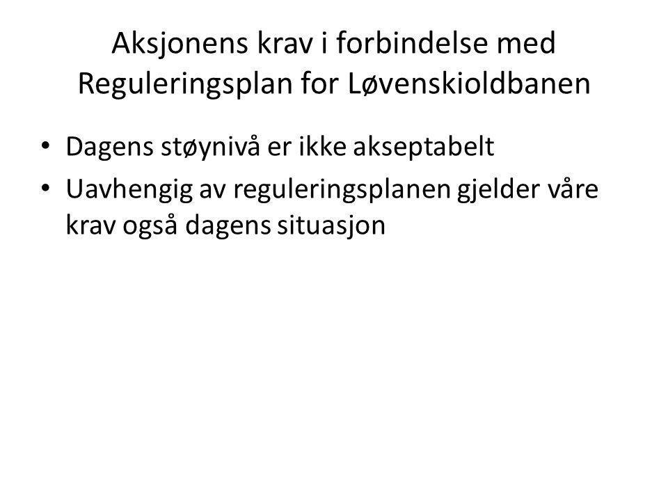 Aksjonens krav i forbindelse med Reguleringsplan for Løvenskioldbanen