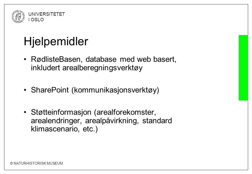 Hjelpemidler RødlisteBasen, database med web basert, inkludert arealberegningsverktøy. SharePoint (kommunikasjonsverktøy)