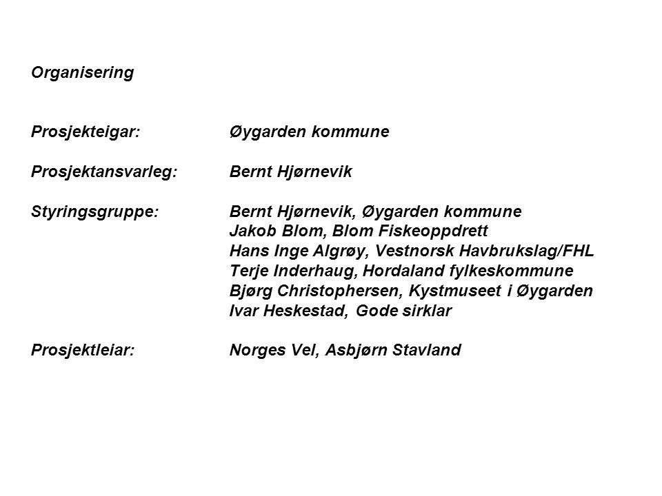 Organisering Prosjekteigar: Øygarden kommune. Prosjektansvarleg: Bernt Hjørnevik. Styringsgruppe: Bernt Hjørnevik, Øygarden kommune.