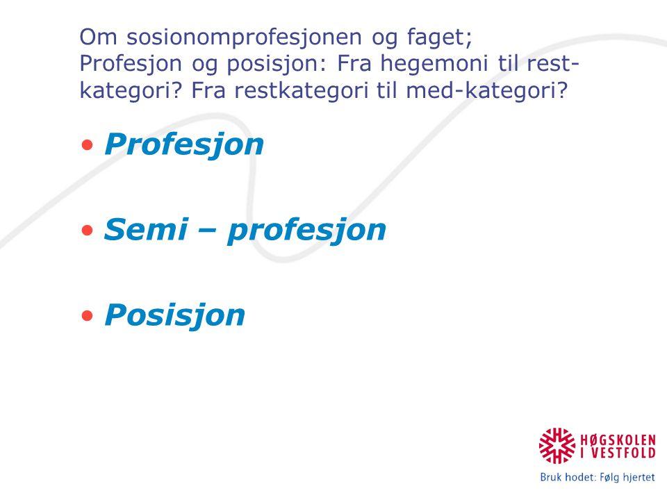 Profesjon Semi – profesjon Posisjon