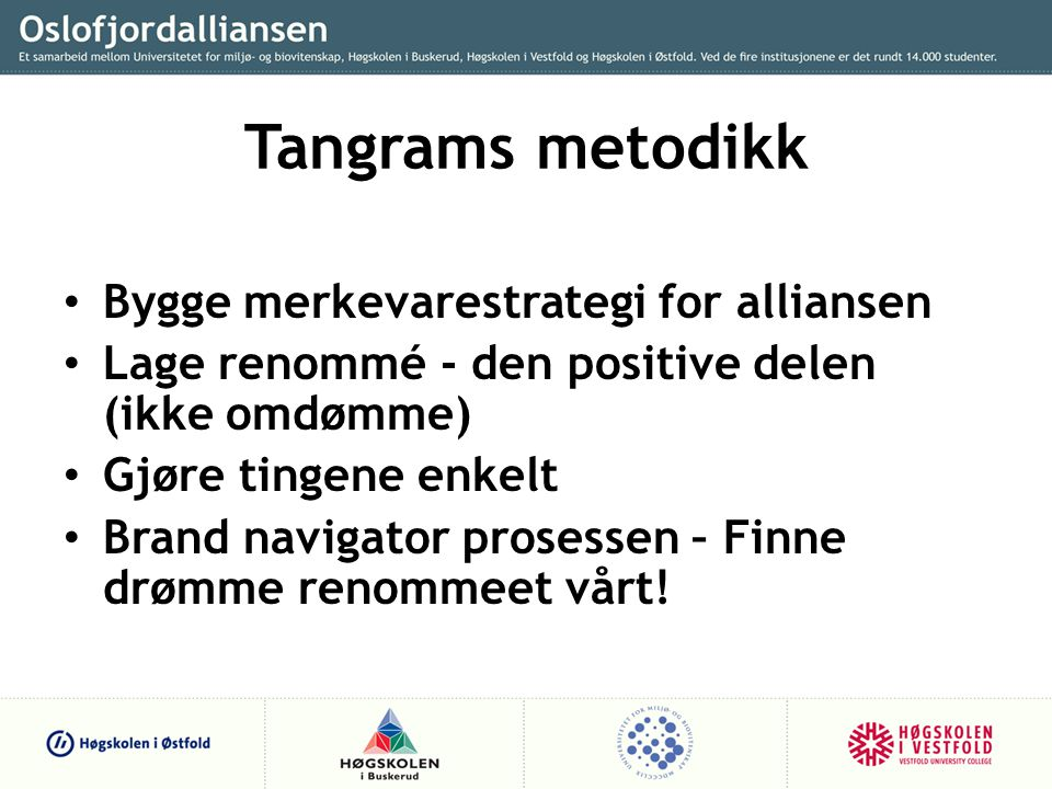 Tangrams metodikk Bygge merkevarestrategi for alliansen