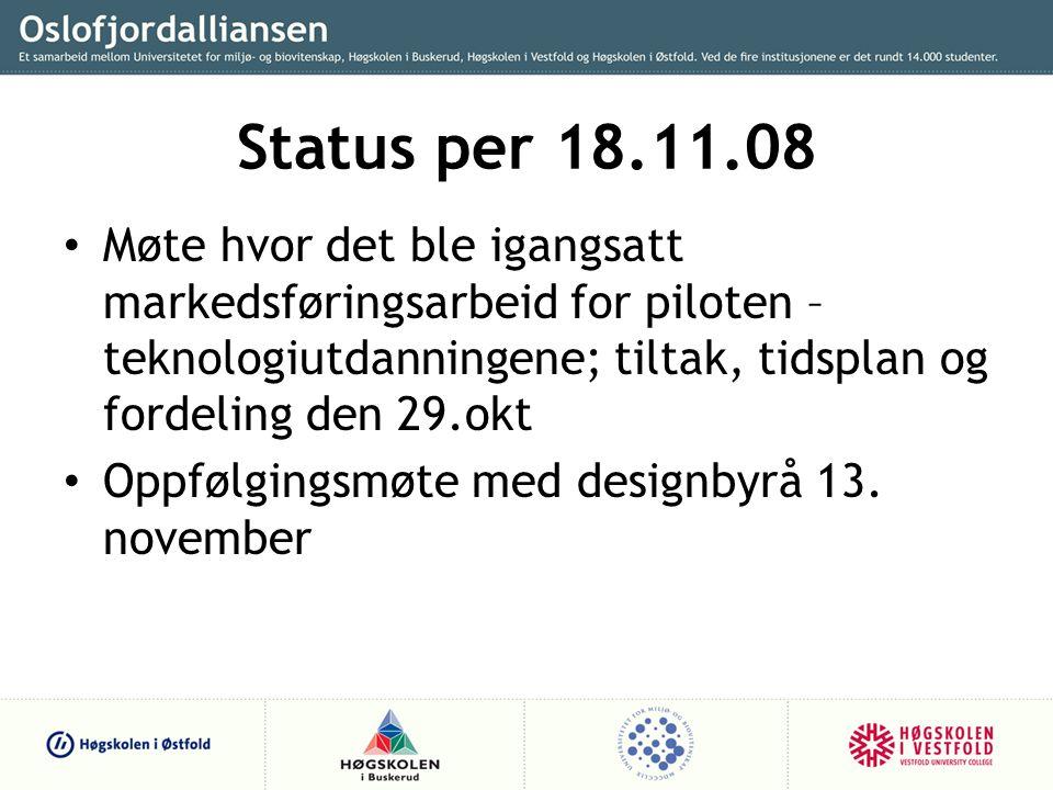Status per 18.11.08 Møte hvor det ble igangsatt markedsføringsarbeid for piloten – teknologiutdanningene; tiltak, tidsplan og fordeling den 29.okt.