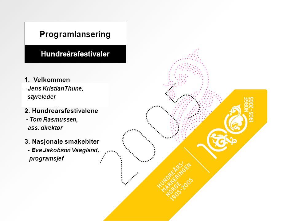 Programlansering Hundreårsfestivaler 1. Velkommen