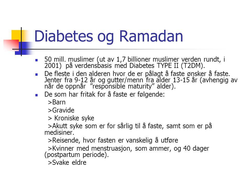 Diabetes og Ramadan 50 mill. muslimer (ut av 1,7 billioner muslimer verden rundt, i 2001) på verdensbasis med Diabetes TYPE II (T2DM).