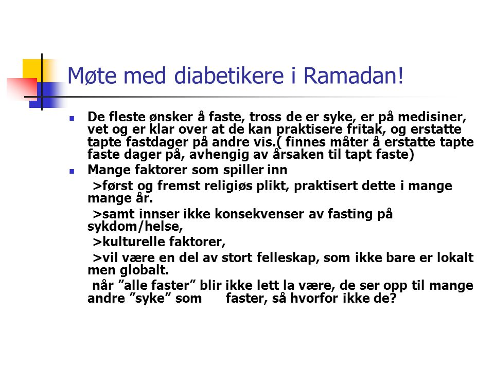 Møte med diabetikere i Ramadan!