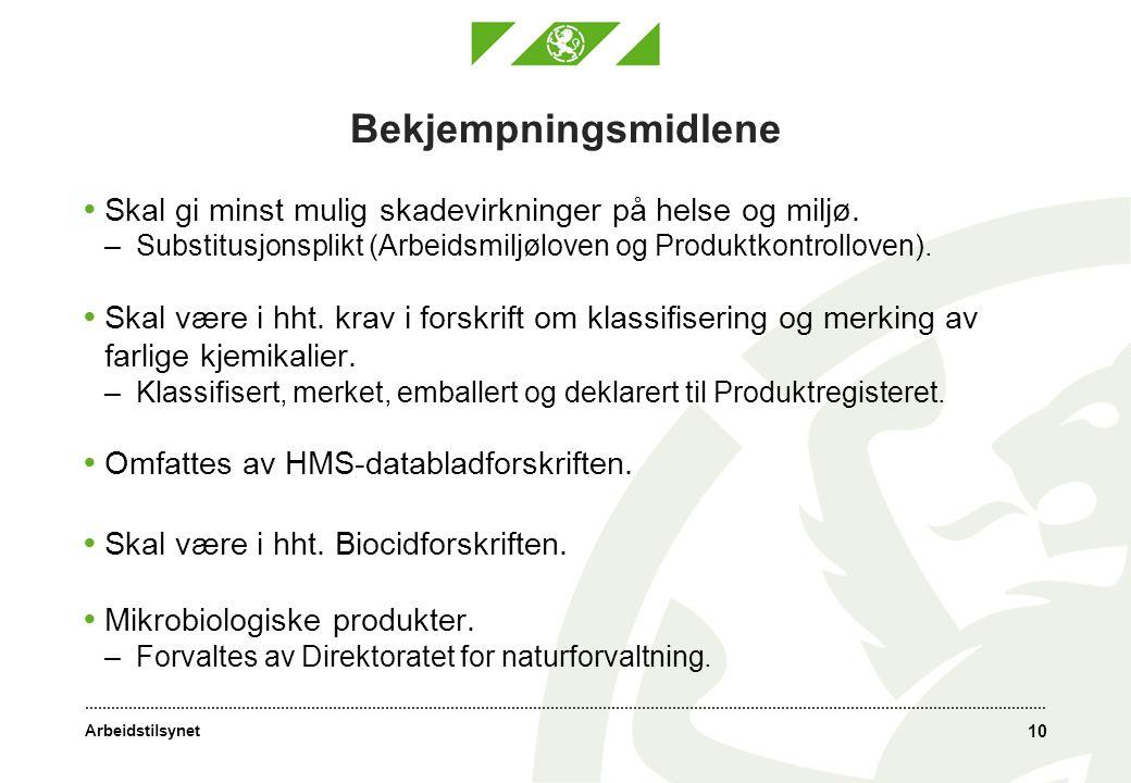 Bekjempningsmidlene Skal gi minst mulig skadevirkninger på helse og miljø. Substitusjonsplikt (Arbeidsmiljøloven og Produktkontrolloven).