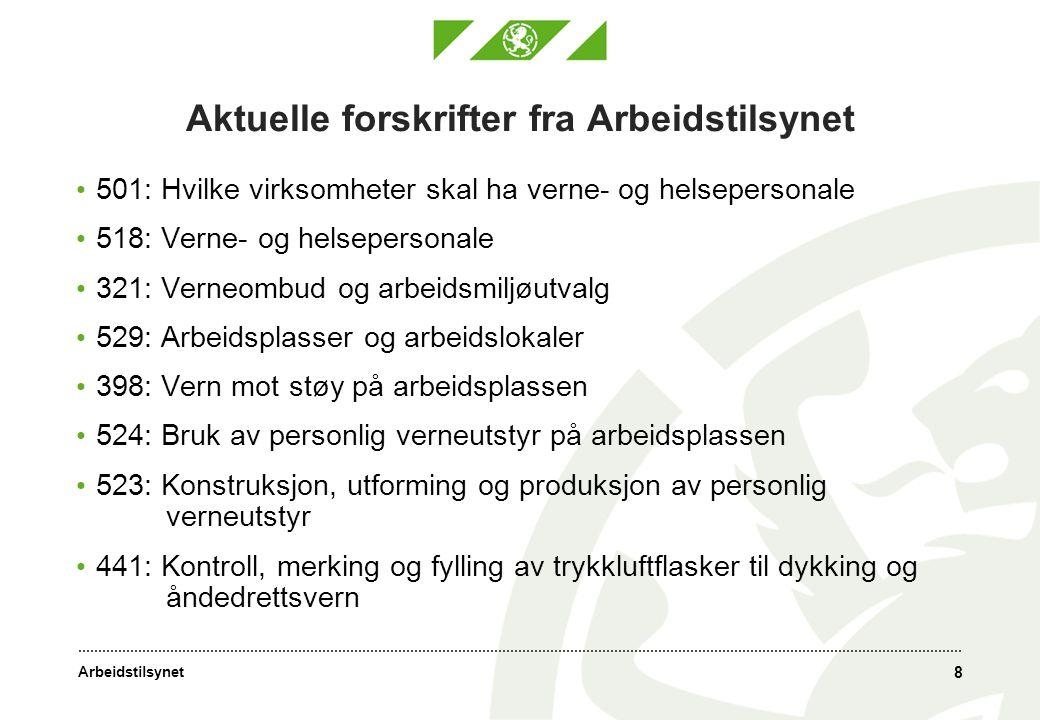 Aktuelle forskrifter fra Arbeidstilsynet