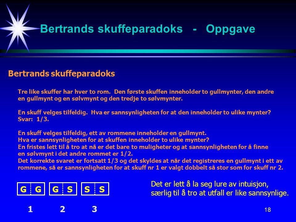 Bertrands skuffeparadoks - Oppgave