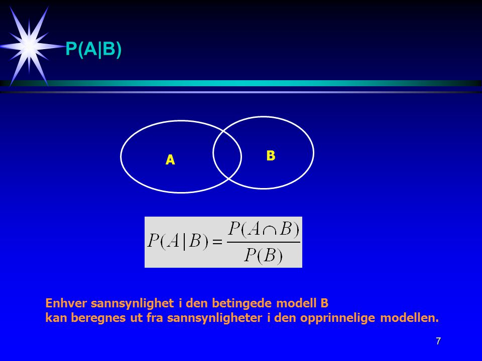 P(A|B) B A Enhver sannsynlighet i den betingede modell B
