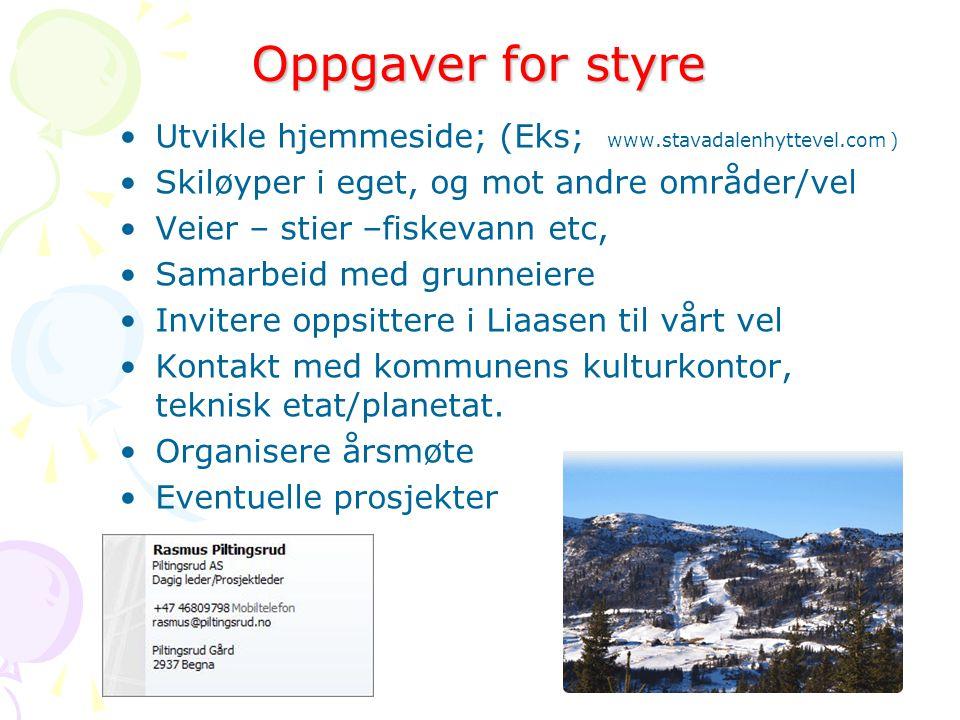 Oppgaver for styre Utvikle hjemmeside; (Eks; www.stavadalenhyttevel.com ) Skiløyper i eget, og mot andre områder/vel.
