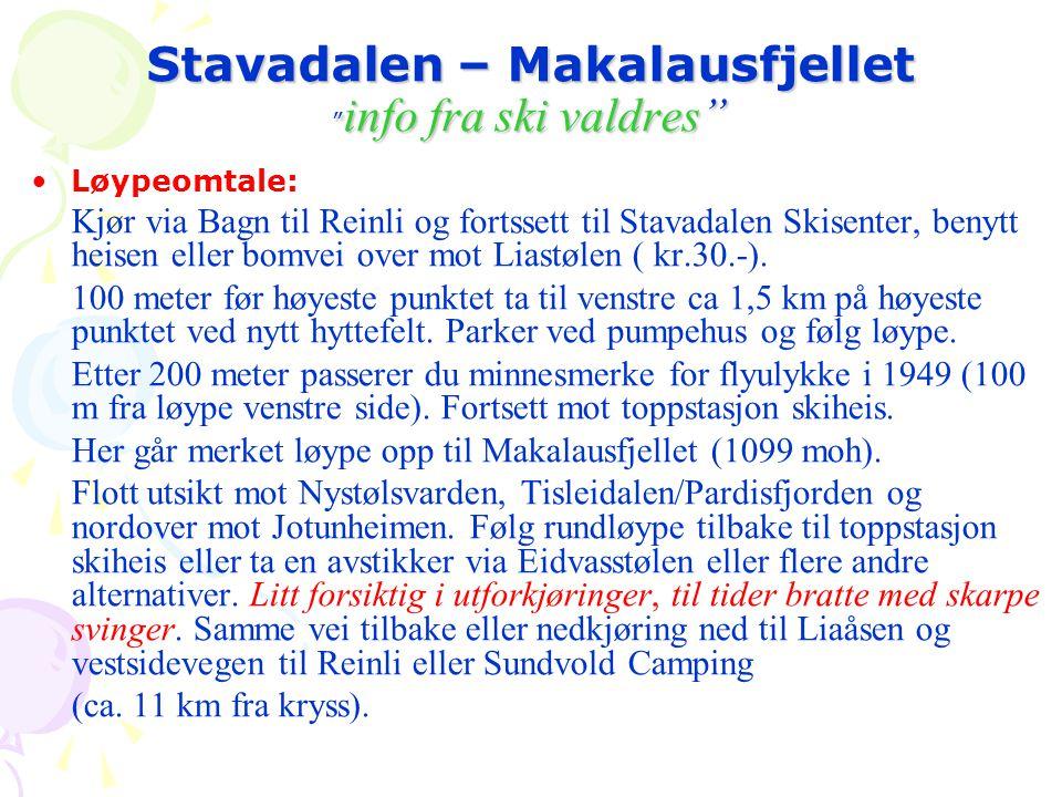 Stavadalen – Makalausfjellet info fra ski valdres