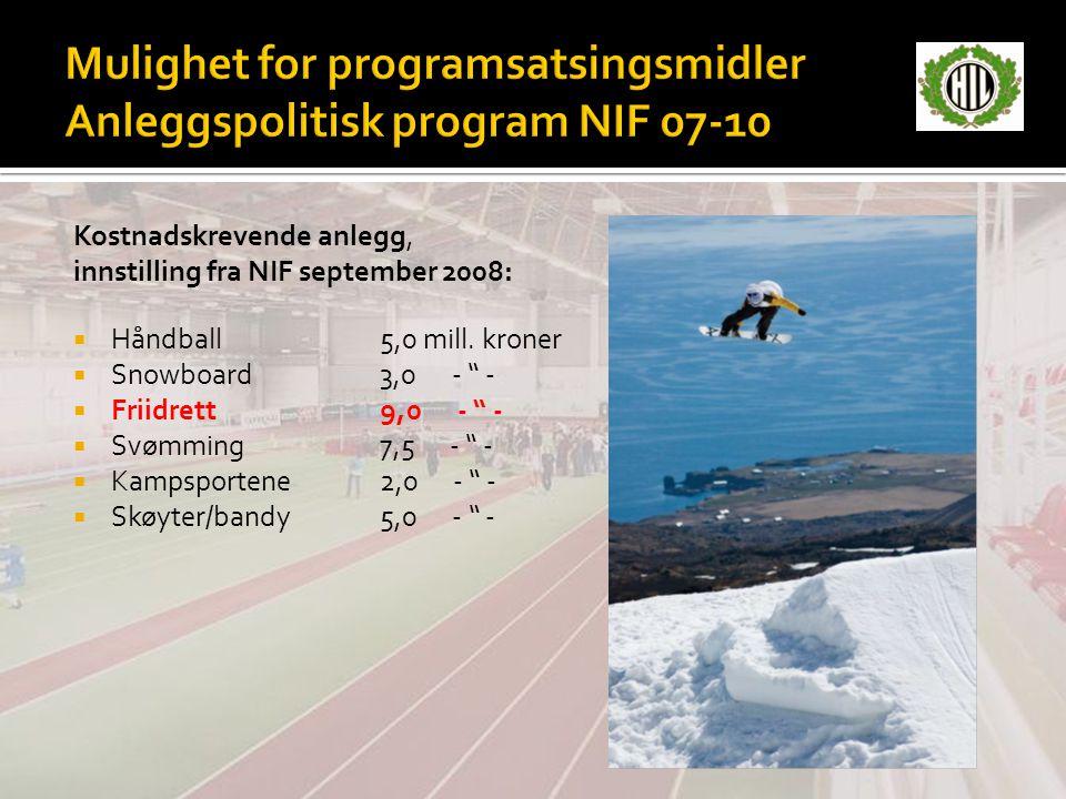 Mulighet for programsatsingsmidler Anleggspolitisk program NIF 07-10