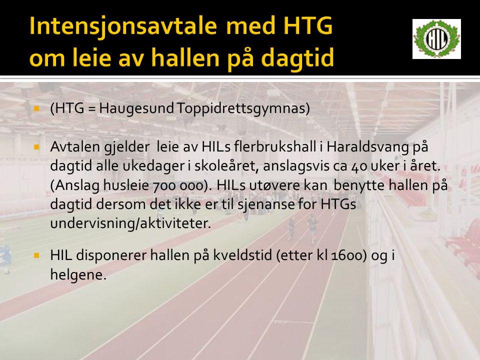 Intensjonsavtale med HTG om leie av hallen på dagtid