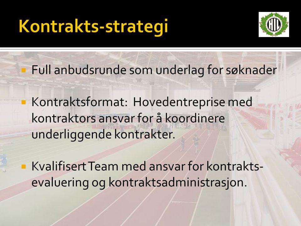 Kontrakts-strategi Full anbudsrunde som underlag for søknader