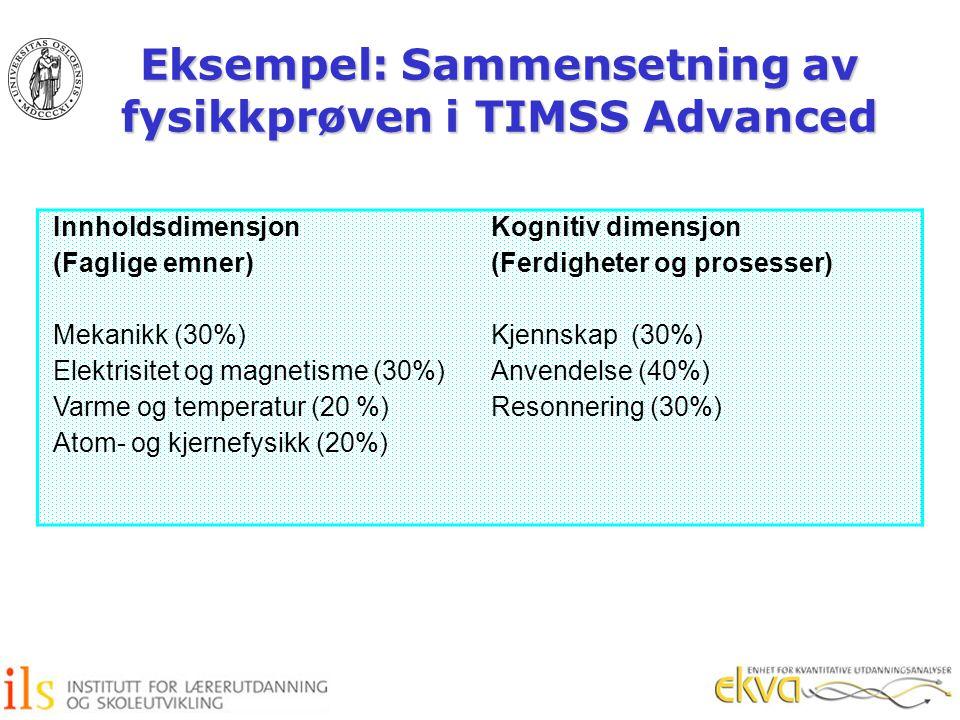 Eksempel: Sammensetning av fysikkprøven i TIMSS Advanced