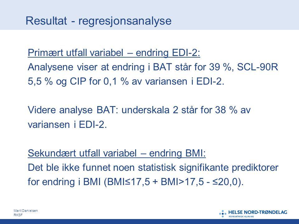 Resultat - regresjonsanalyse