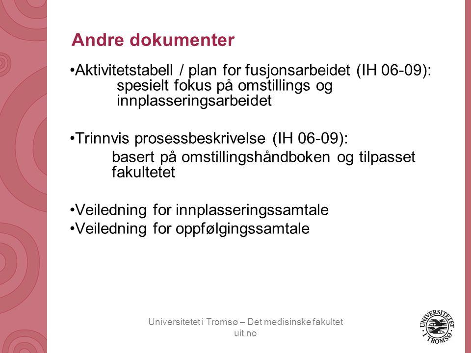 Andre dokumenter Aktivitetstabell / plan for fusjonsarbeidet (IH 06-09): spesielt fokus på omstillings og innplasseringsarbeidet.