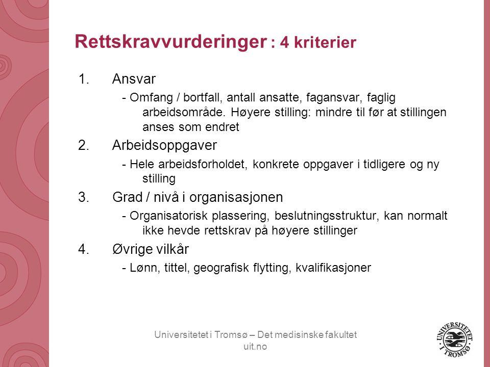 Rettskravvurderinger : 4 kriterier