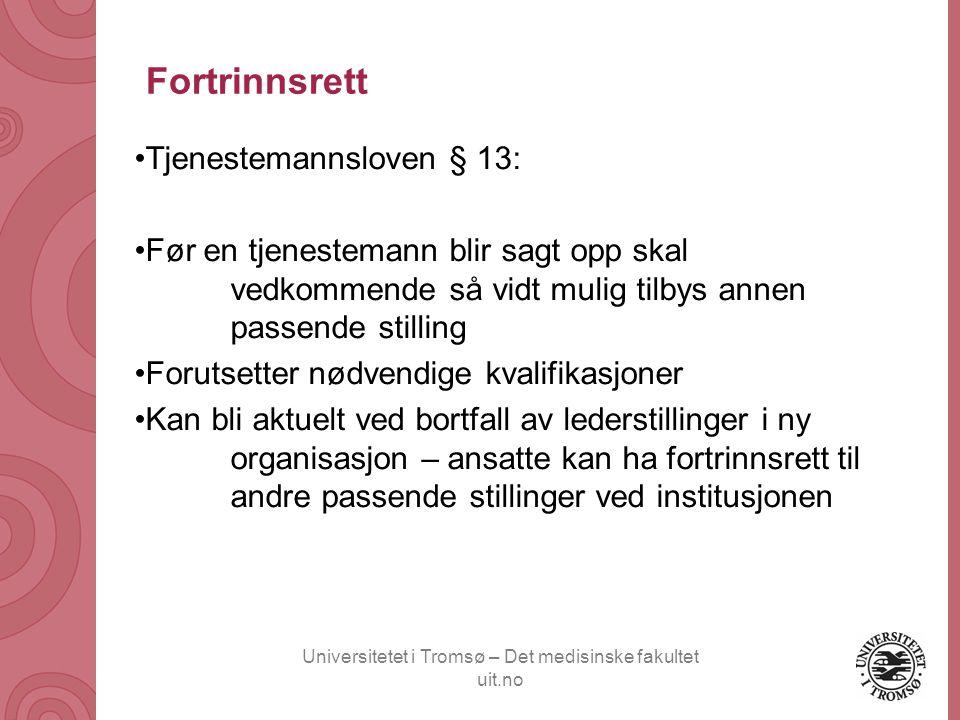Fortrinnsrett Tjenestemannsloven § 13:
