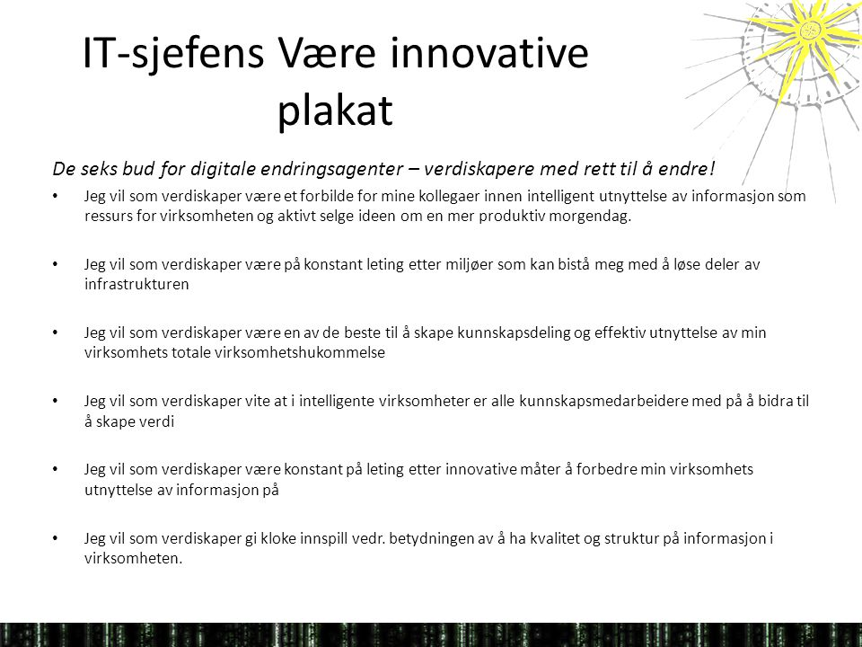 IT-sjefens Være innovative plakat