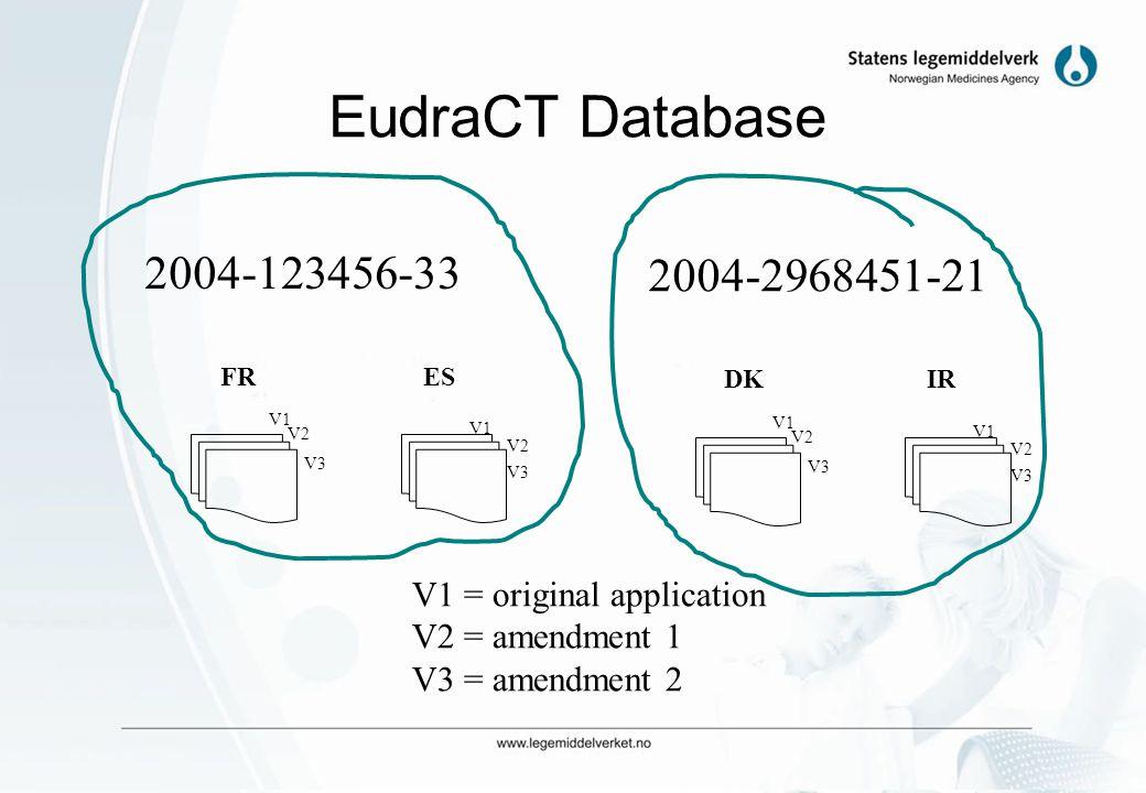 EudraCT Database 2004-123456-33. 2004-2968451-21. FR. ES. DK. IR. V1. V2. V1. V1. V2. V1.