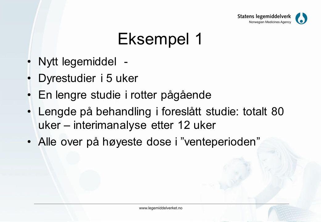 Eksempel 1 Nytt legemiddel - Dyrestudier i 5 uker