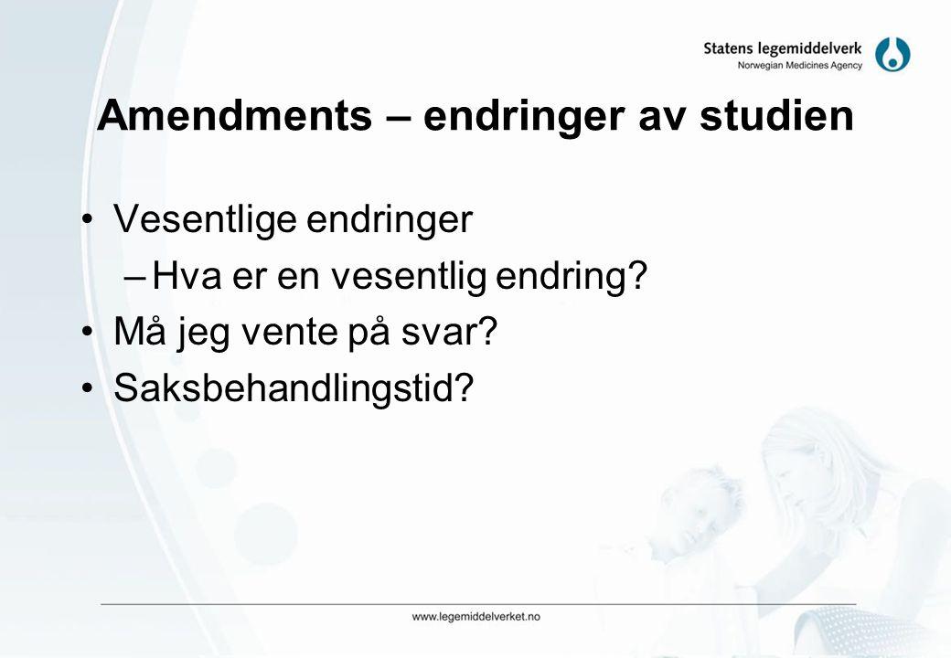 Amendments – endringer av studien