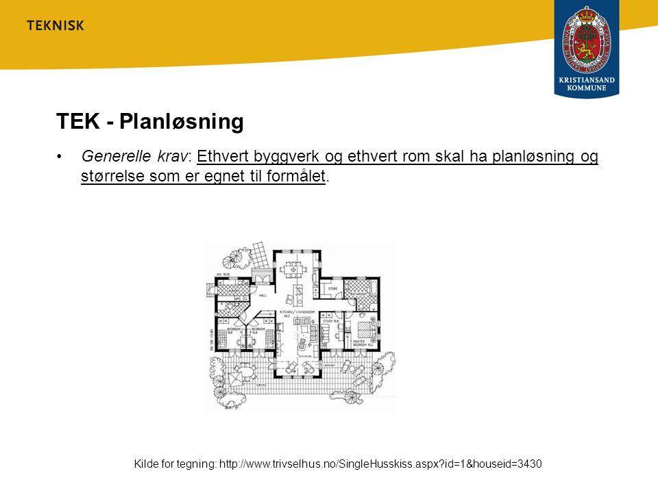 TEK - Planløsning Generelle krav: Ethvert byggverk og ethvert rom skal ha planløsning og størrelse som er egnet til formålet.