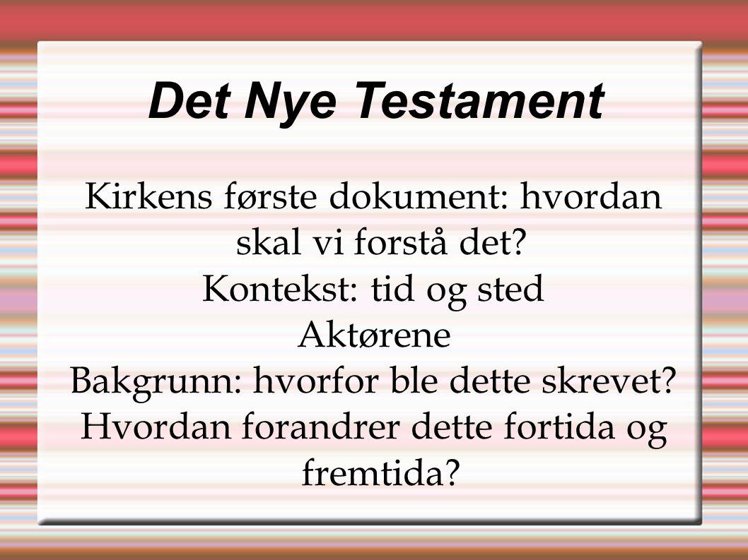 Det Nye Testament Kirkens første dokument: hvordan skal vi forstå det