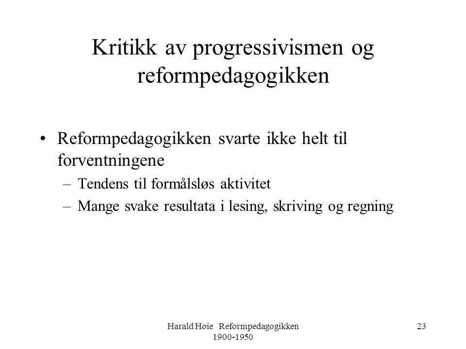 Kritikk av progressivismen og reformpedagogikken