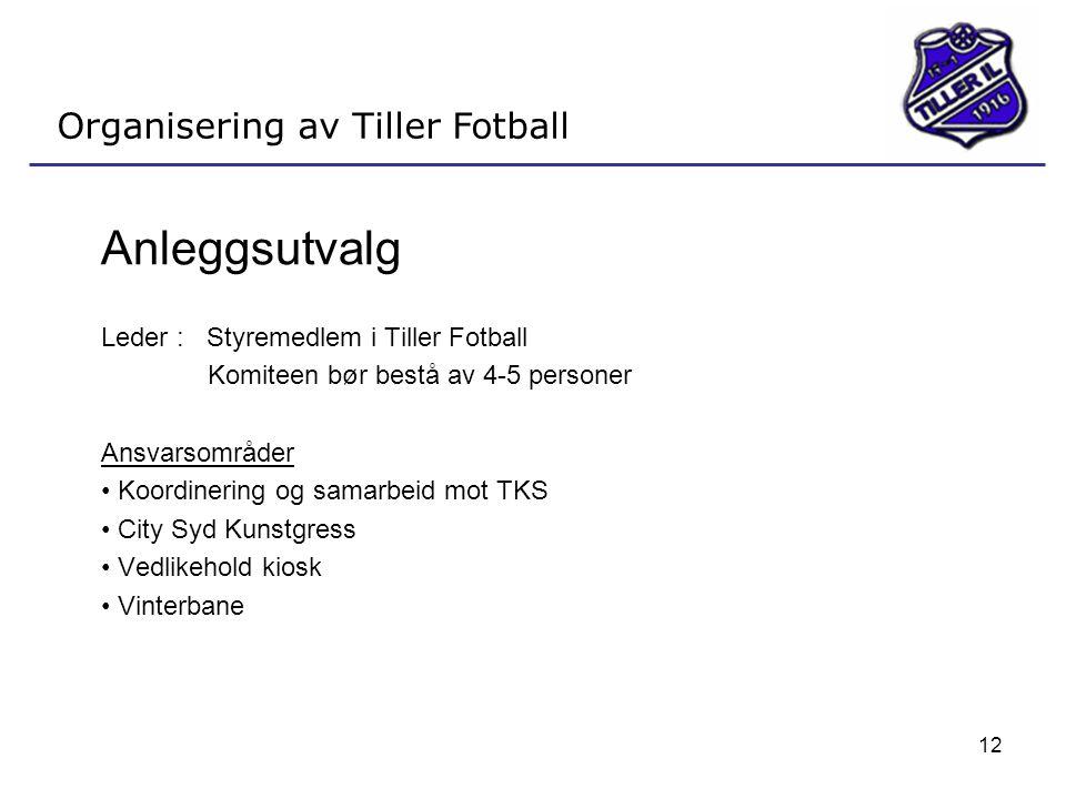 Anleggsutvalg Organisering av Tiller Fotball