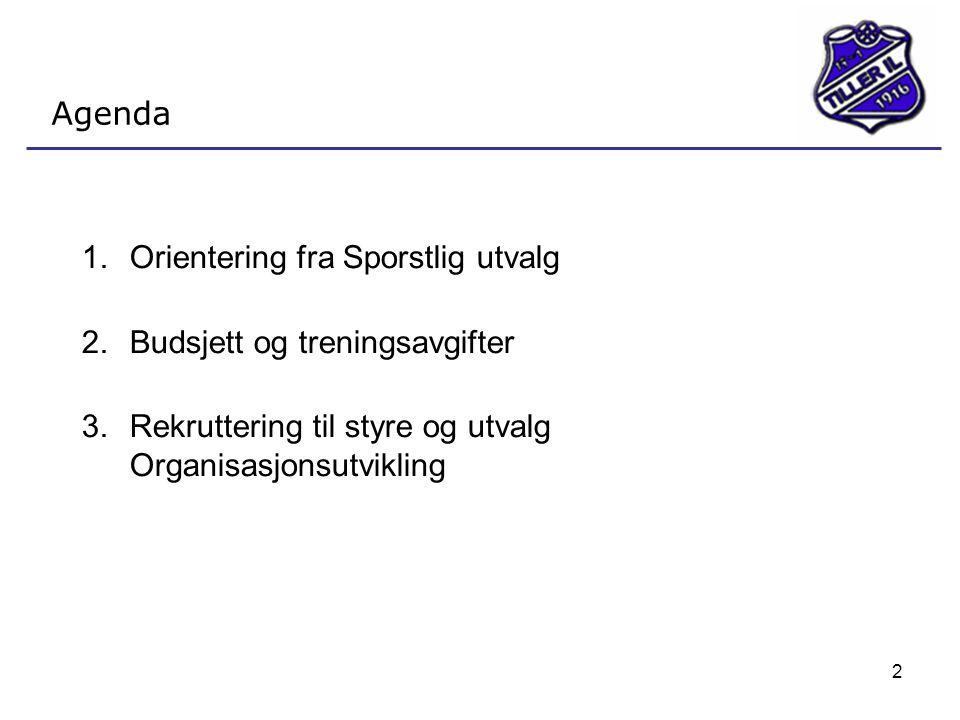 Agenda Orientering fra Sporstlig utvalg. Budsjett og treningsavgifter.
