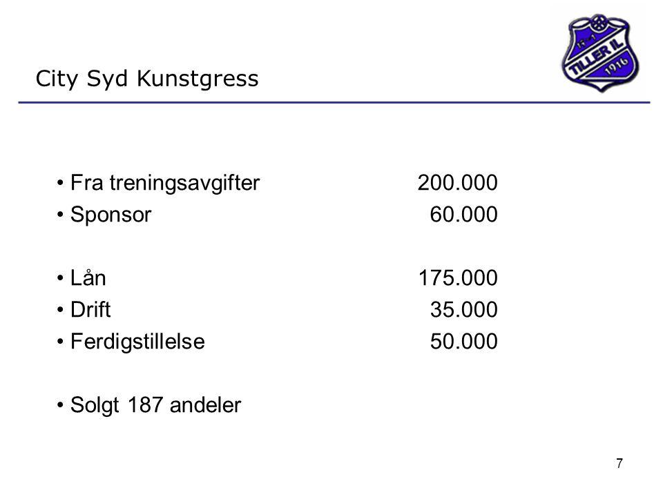 City Syd Kunstgress Fra treningsavgifter 200.000. Sponsor 60.000. Lån 175.000. Drift 35.000. Ferdigstillelse 50.000.
