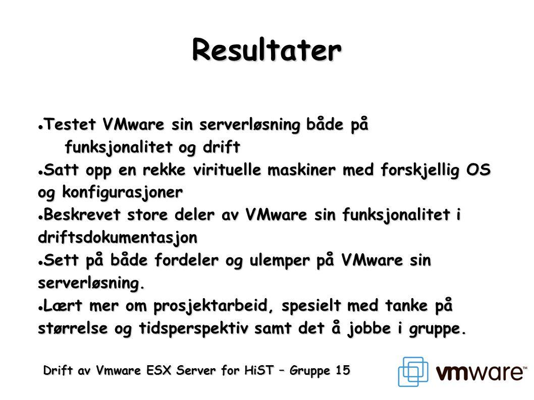 Resultater Testet VMware sin serverløsning både på funksjonalitet og drift.