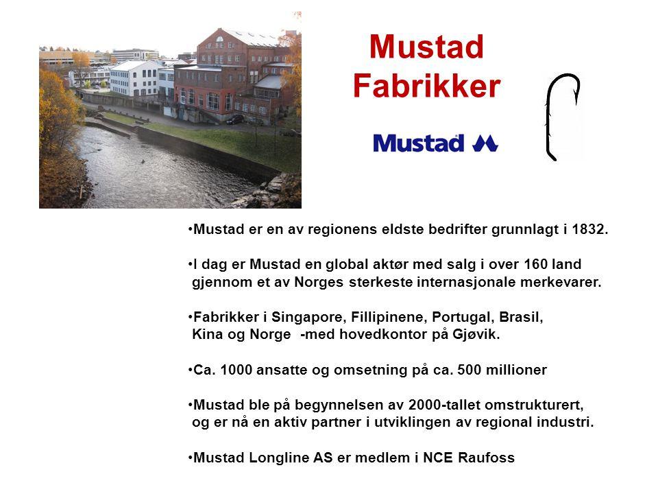 Mustad Fabrikker Mustad er en av regionens eldste bedrifter grunnlagt i 1832. I dag er Mustad en global aktør med salg i over 160 land.