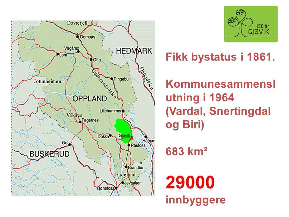 29000 innbyggere Fikk bystatus i 1861. Kommunesammenslutning i 1964