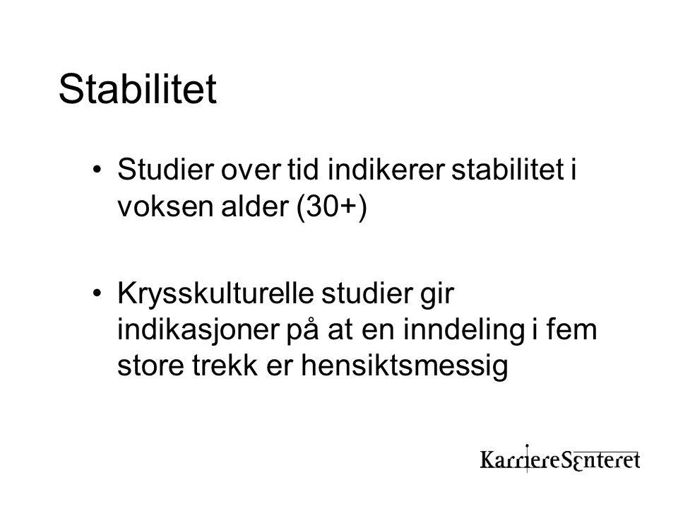 Stabilitet Studier over tid indikerer stabilitet i voksen alder (30+)