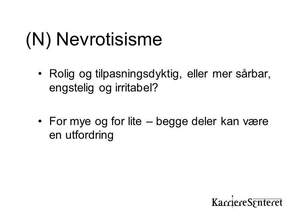 (N) Nevrotisisme Rolig og tilpasningsdyktig, eller mer sårbar, engstelig og irritabel.