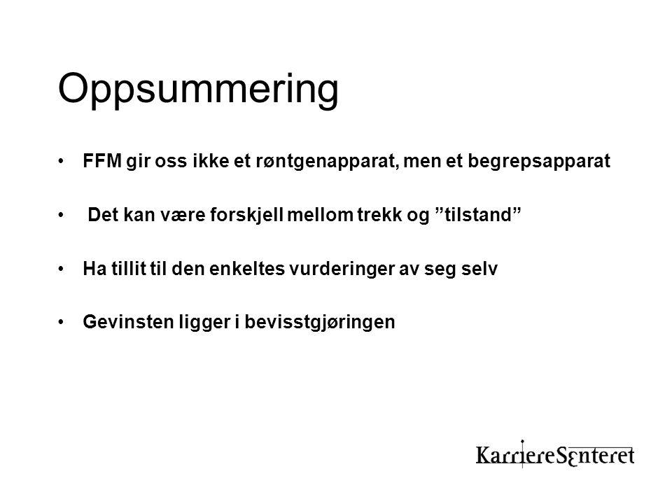 Oppsummering FFM gir oss ikke et røntgenapparat, men et begrepsapparat