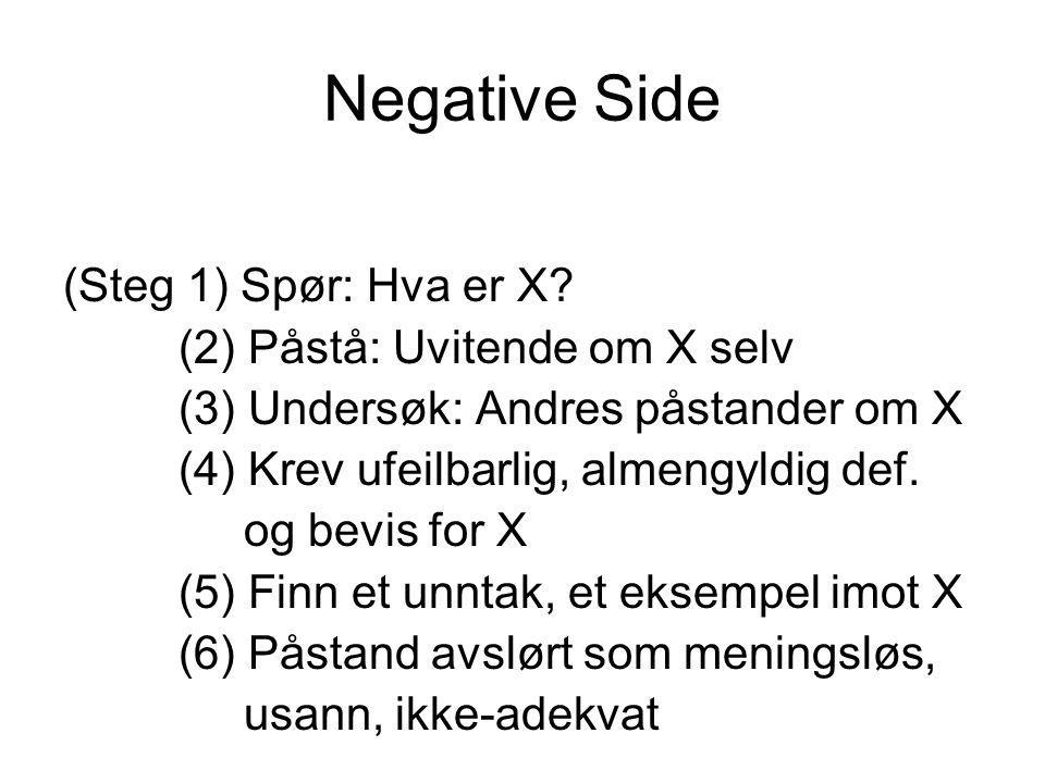 Negative Side (Steg 1) Spør: Hva er X (2) Påstå: Uvitende om X selv