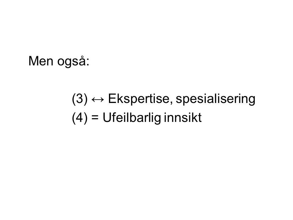Men også: (3) ↔ Ekspertise, spesialisering (4) = Ufeilbarlig innsikt