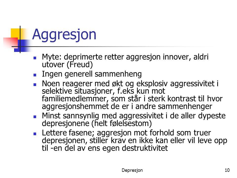 Aggresjon Myte: deprimerte retter aggresjon innover, aldri utover (Freud) Ingen generell sammenheng.